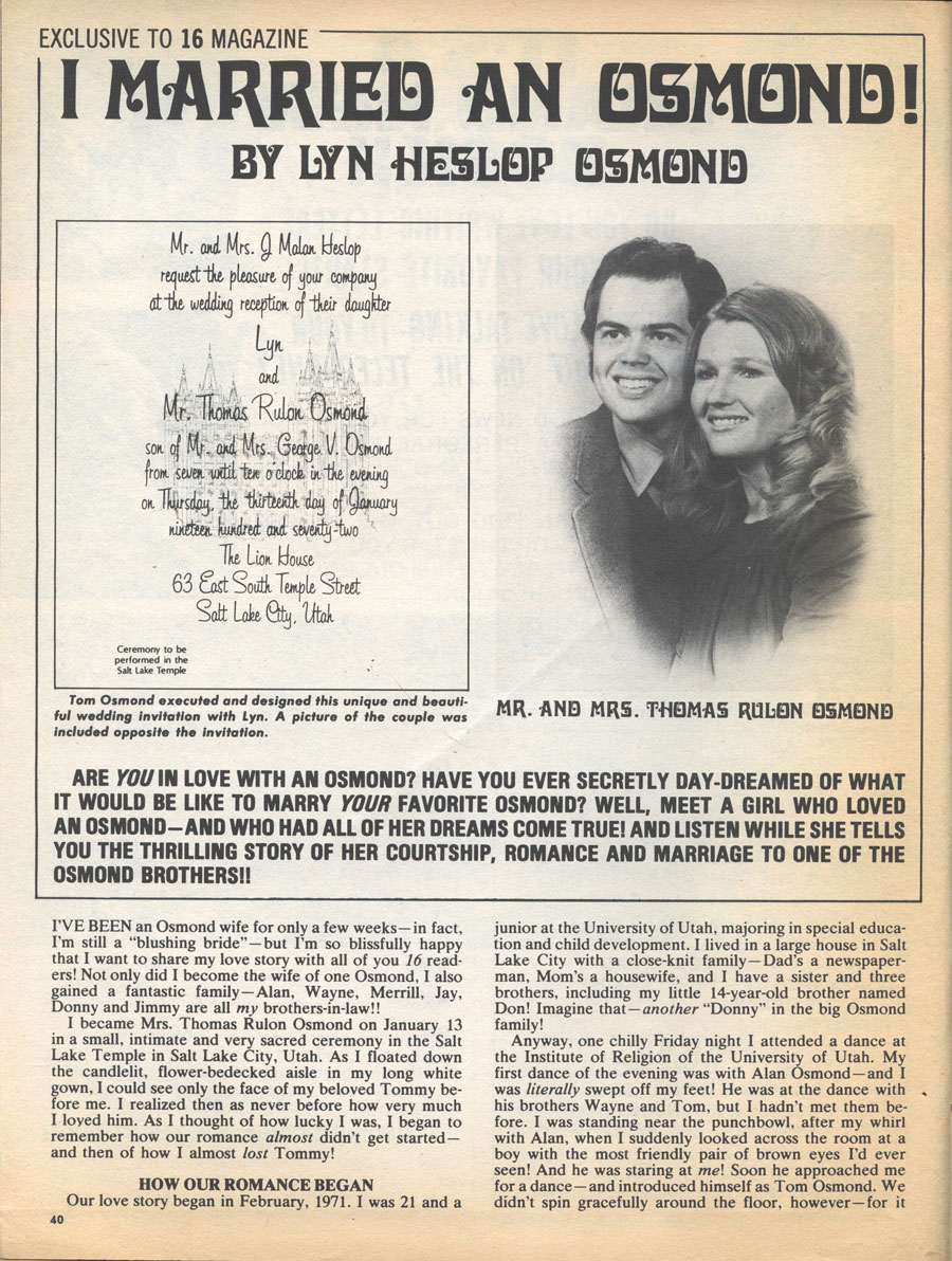 tom osmond and lyn heslop relationship poems